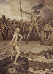 litografia de Osmar Schindler sobre David y Goliath