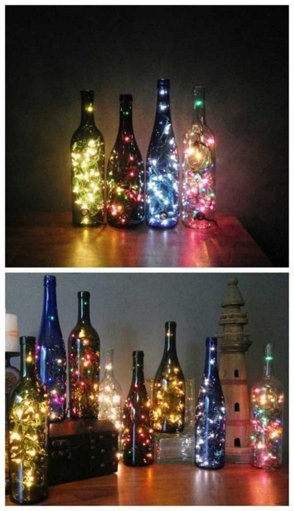 luces de navidad en botellas